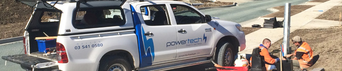 Power Network Reticulation Ute and Workers